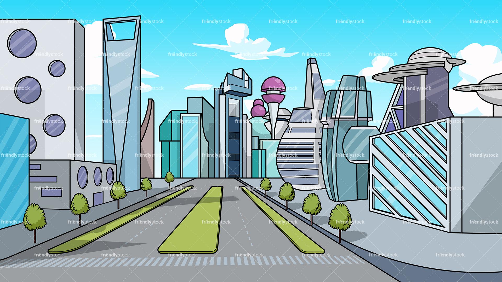 Futuristic City Background.