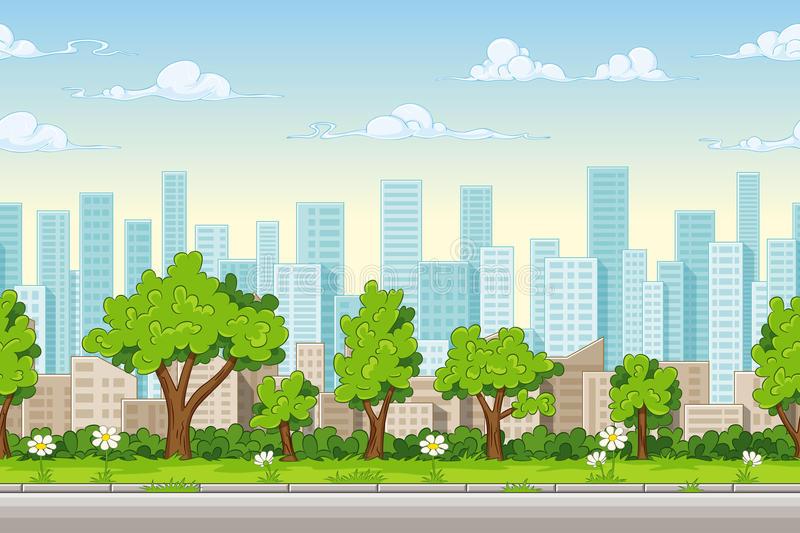 Cartoon City Background Stock Illustrations.