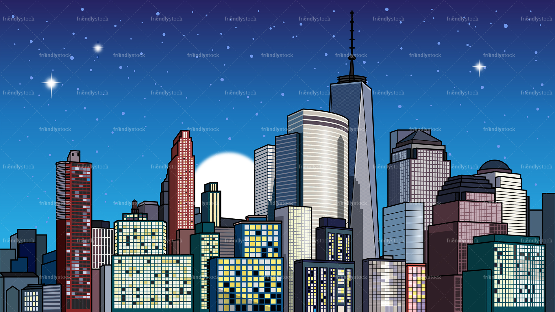 City At Night Background.