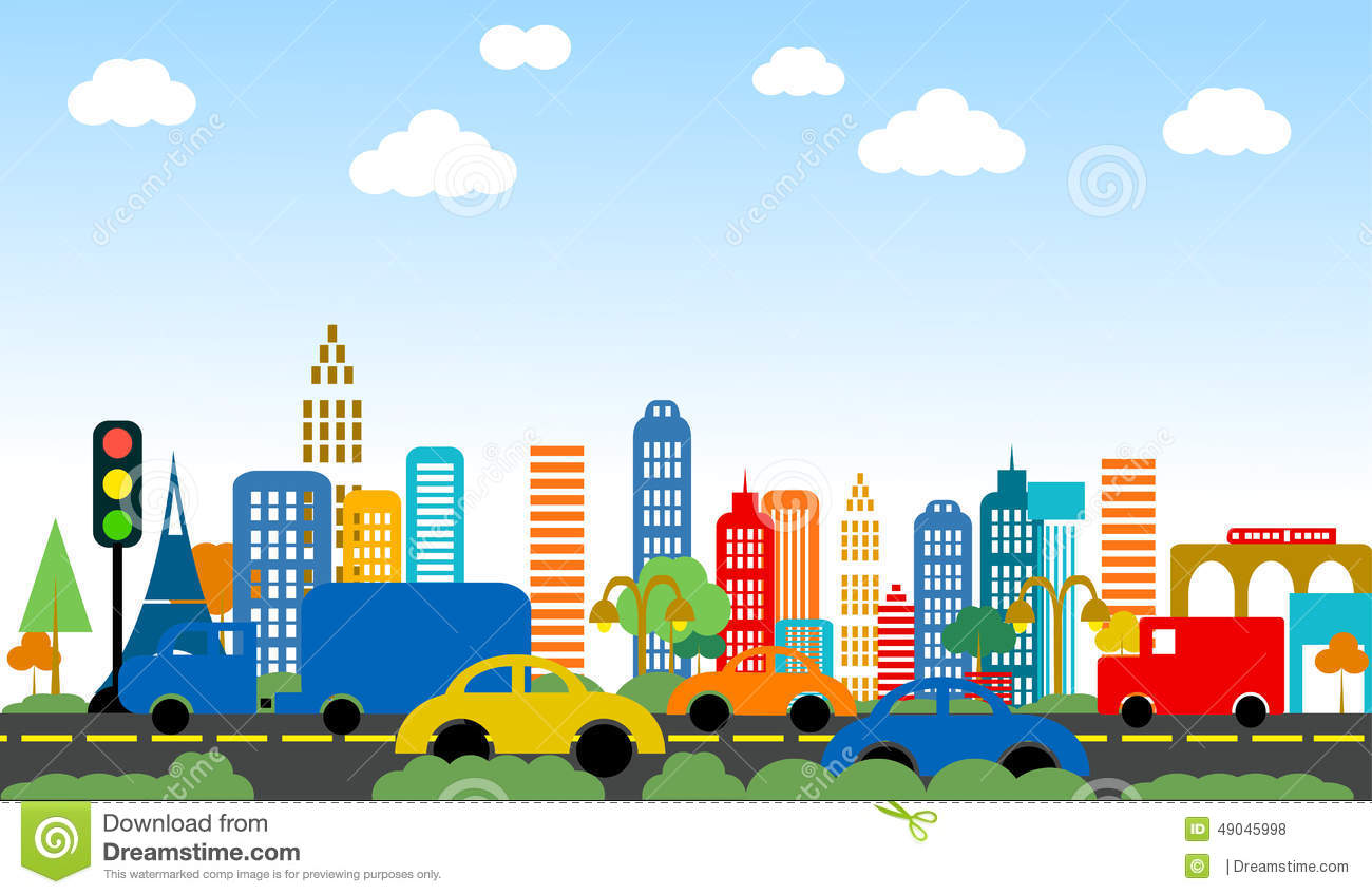 Cute City stock illustration. Illustration of grass, shapes.