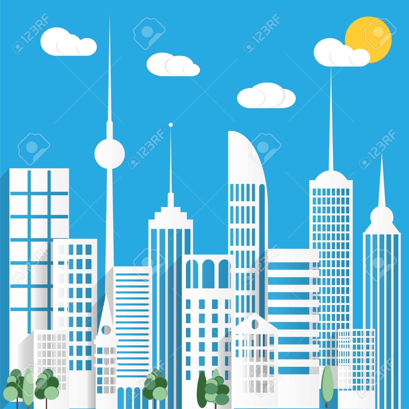 Paper urban city background with sun. Vector illustration..