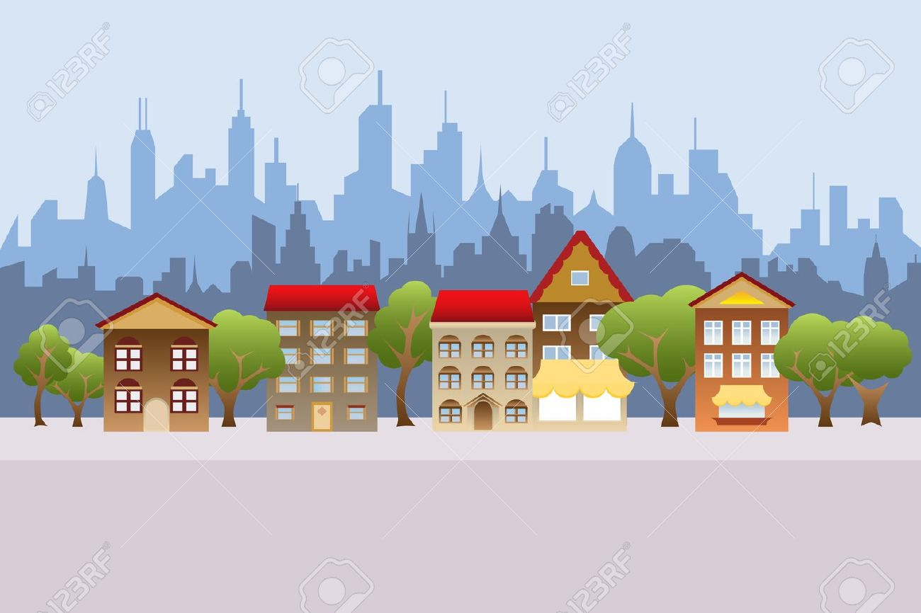 Suburban houses and city in the background.
