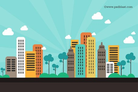 Free Flat Color Abstract City Background (PSD) Clipart and Vector.