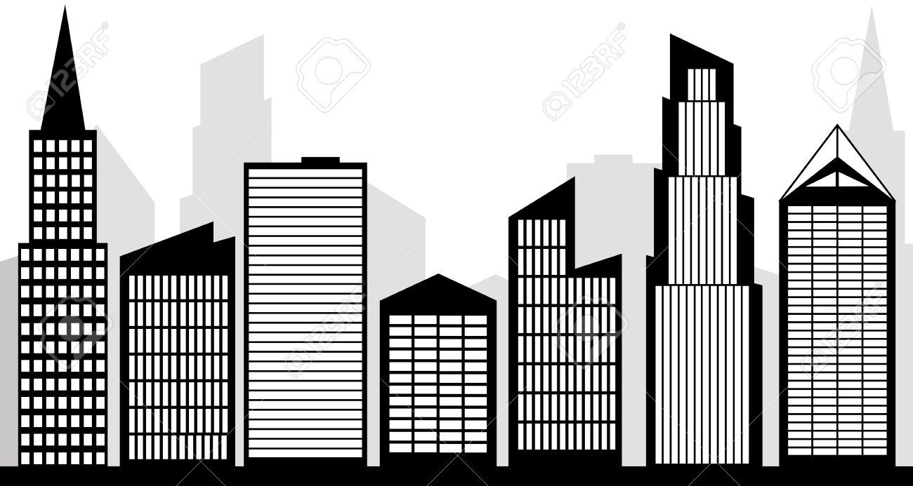city skyline silhouette black and white clipart.