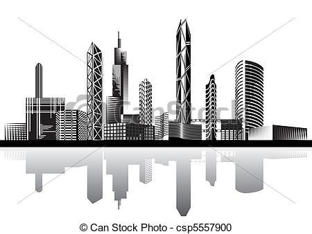 Black and white city.