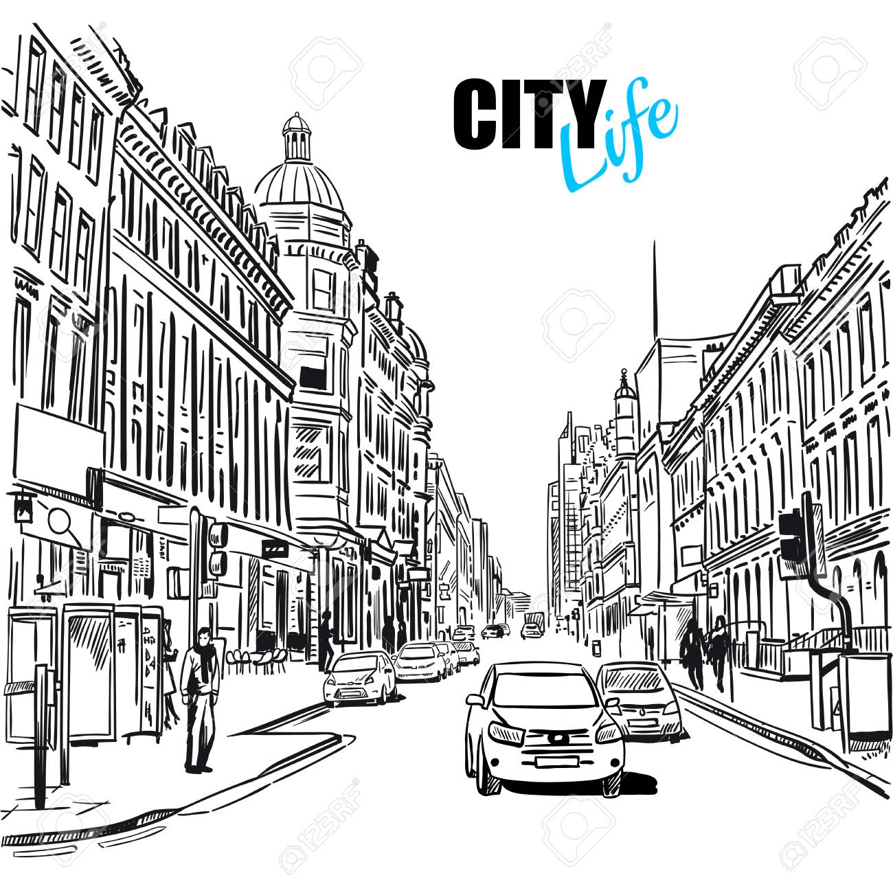 Black And White City Street Template.