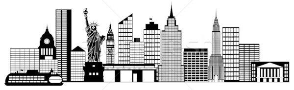 New York City Skyline Black And White Illustration new york city.