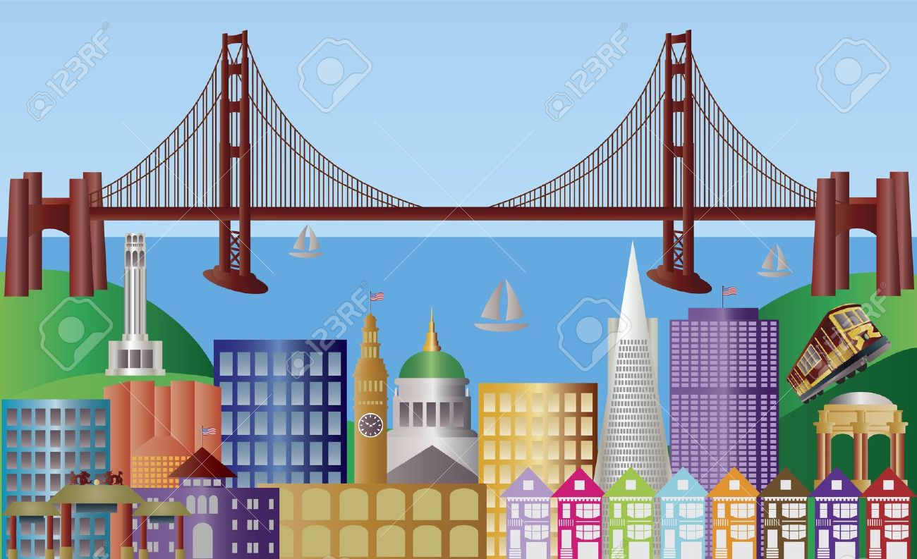 San Francisco California City Skyline With Golden Gate Bridge.