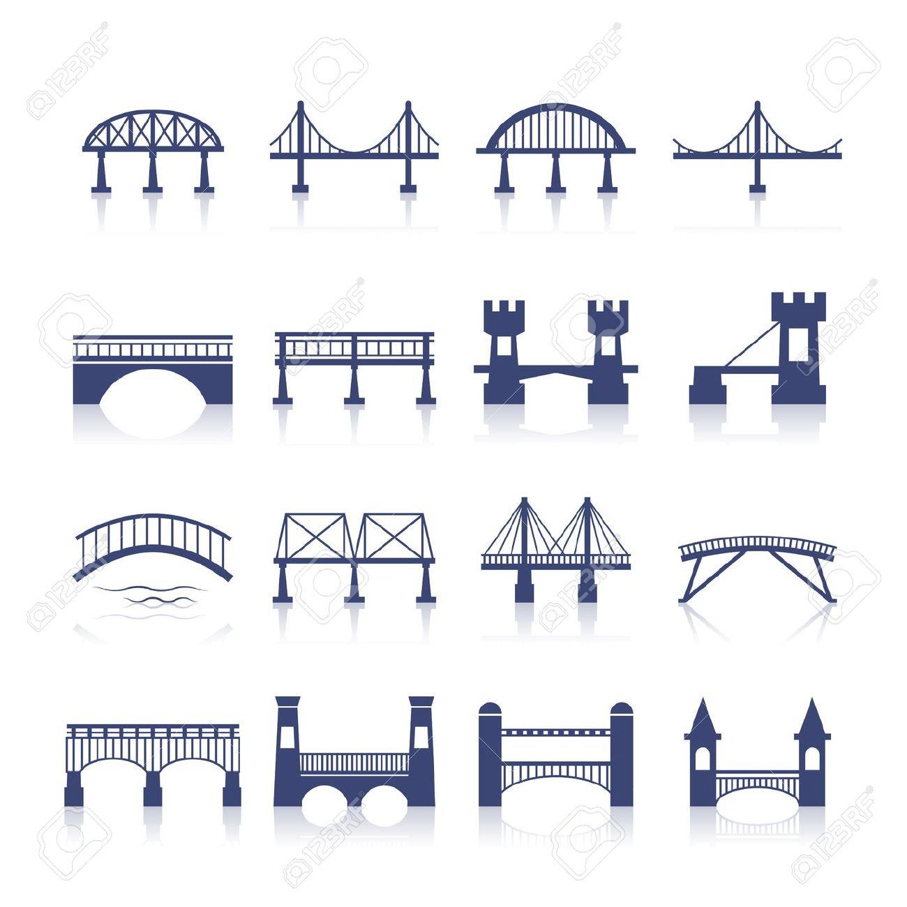 Bridge Architecture City Landmark Silhouette Icon Set Isolated.