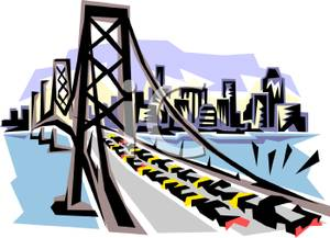 Cars on a Bridge Leading To the City Clip Art Image.