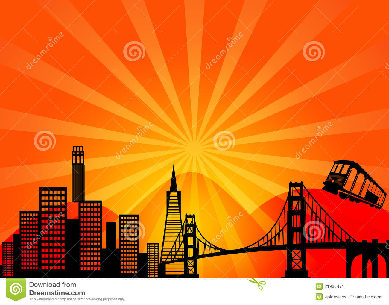 San Francisco California City Skyline Clipart Stock Image.