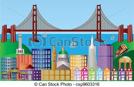 Clip Art Vector of San Francisco City Skyline Panorama.