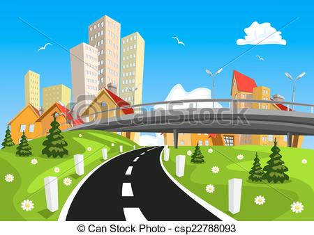EPS Vectors of Vector city surrounded by nature landscape with.