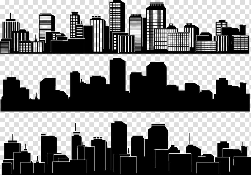 City illustration collage, City Silhouette Skyline Building.