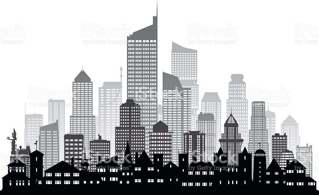 City Buildings Clipart Black And White.