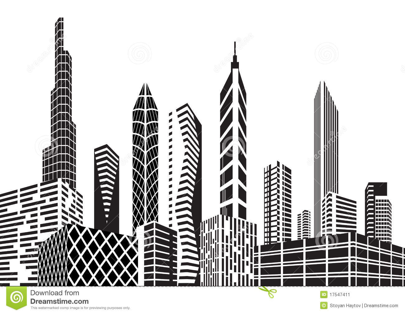 City buildings clipart black and white 6 » Clipart Station.