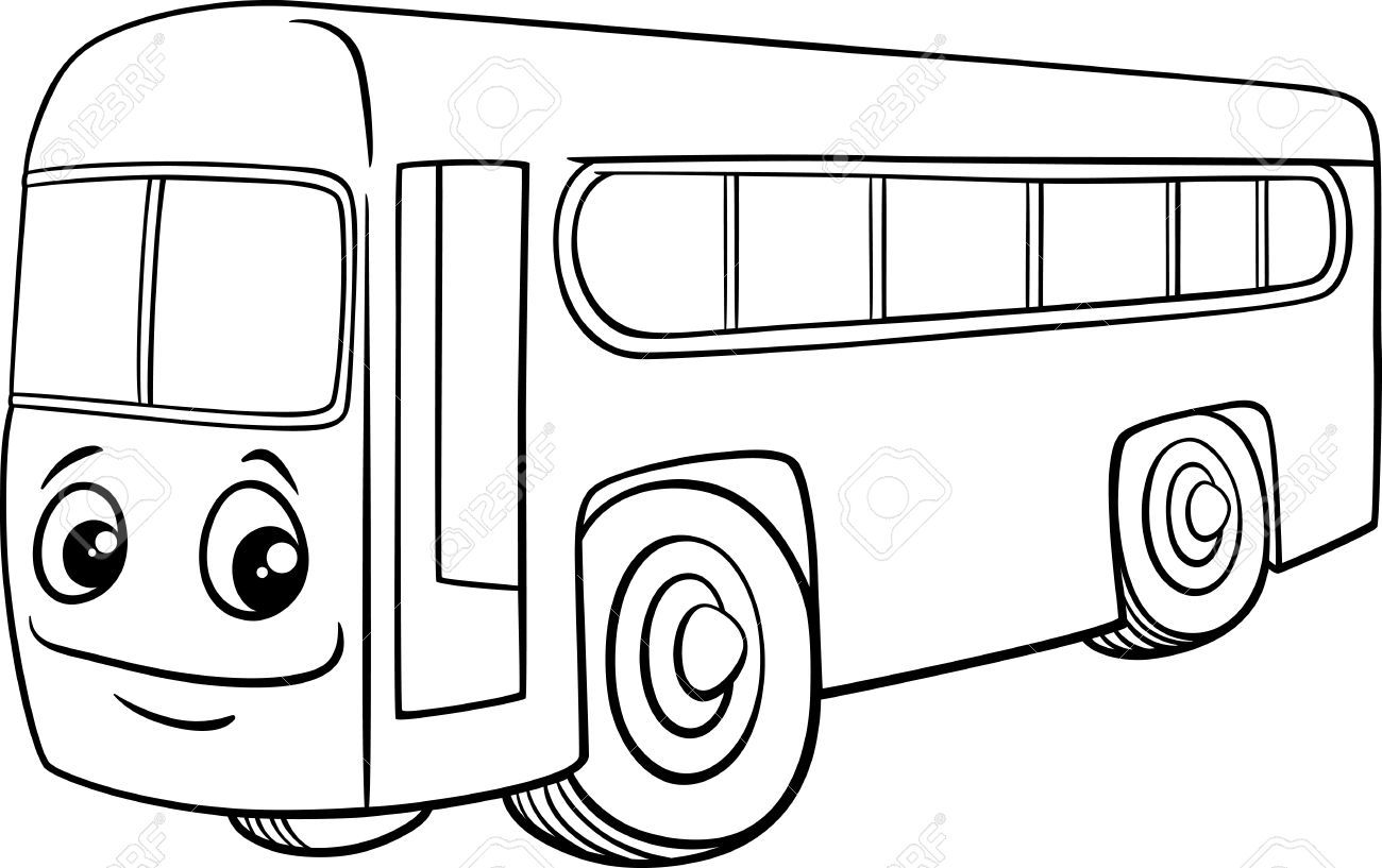clipart bus black and white #268.