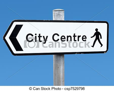 Pictures of English city centre direction sign. csp7529798.