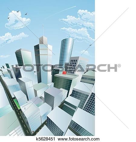 Clipart of Modern cityscape of city centre financial district.