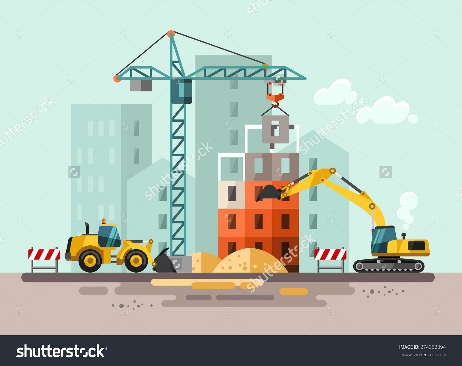 Construction Site Building House Vector Flat Stock Vector.