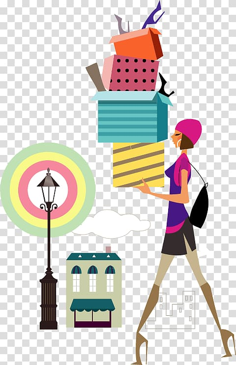 Woman illustration Shopping Illustration, City girl.