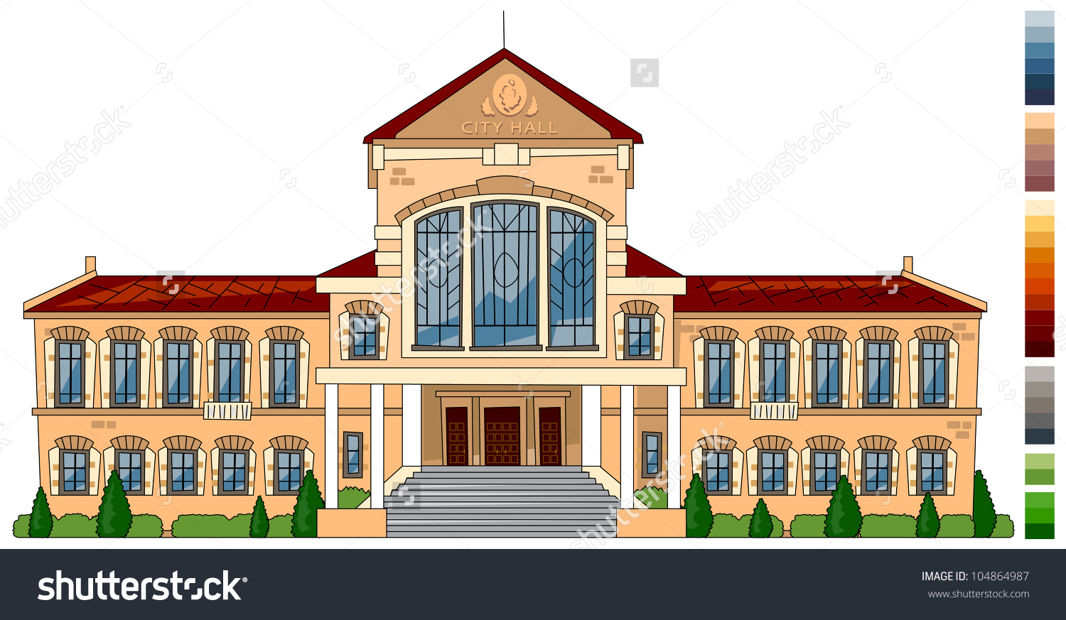 Cartoon City Hall Series Cartoon Buildings Stock Vector 104864987.