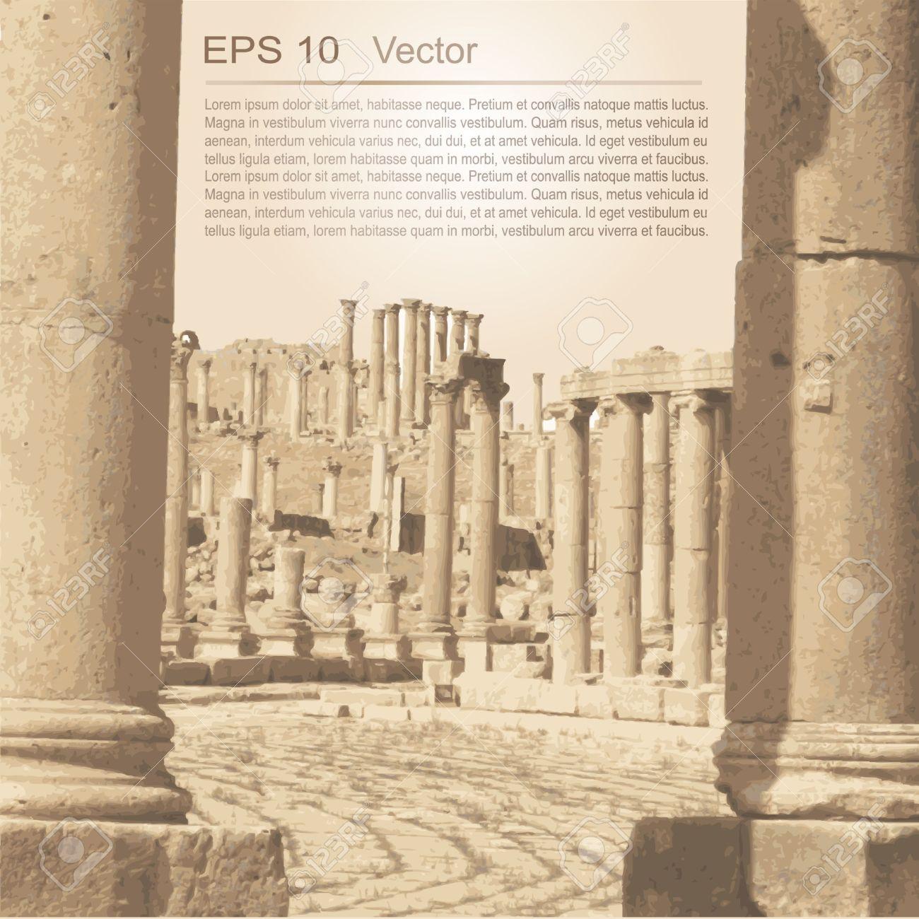 Ruins Of Ancient City Of Gerasa In Jerash, Jordan Ancient.