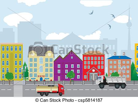 Vectors Illustration of City houses. Vector illustration for you.