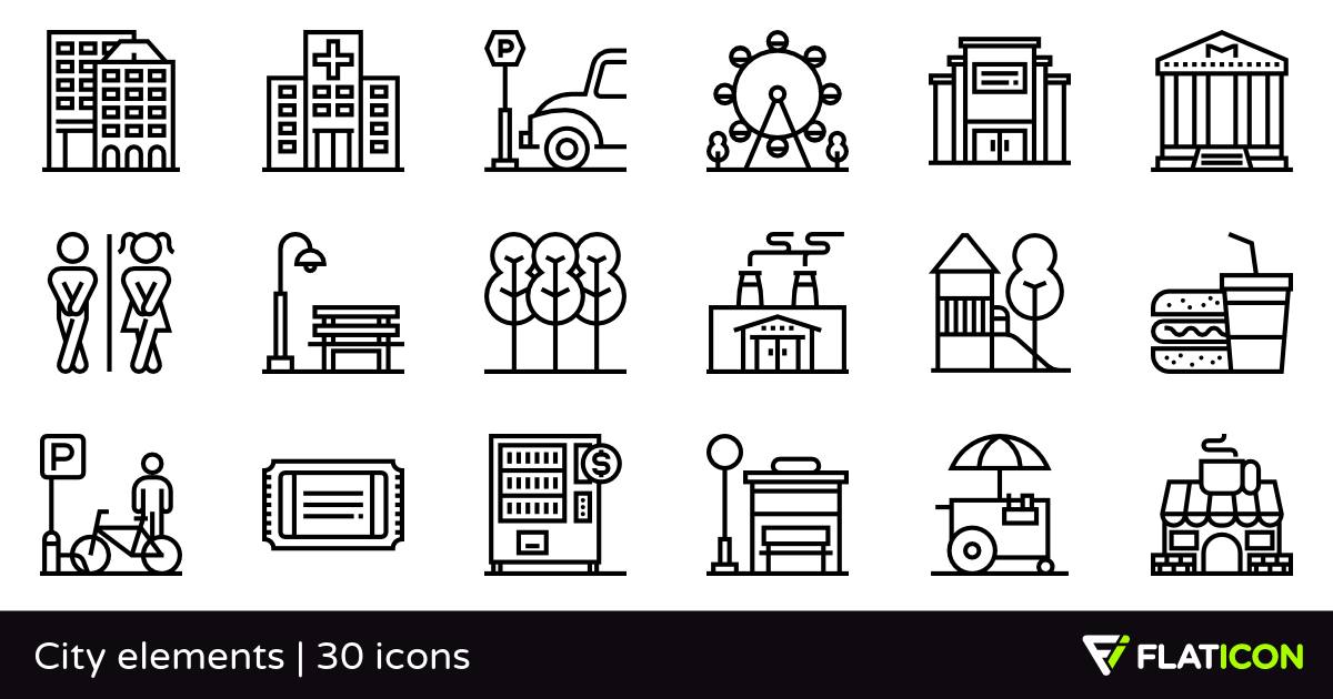 City elements 30 free icons (SVG, EPS, PSD, PNG files).