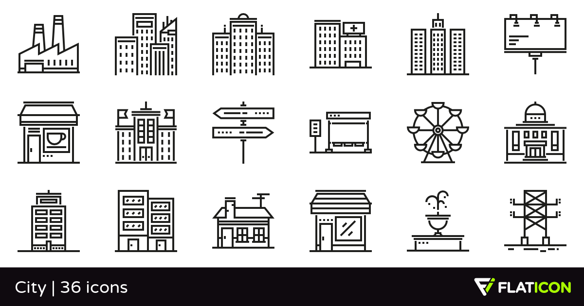 City 36 free icons (SVG, EPS, PSD, PNG files).