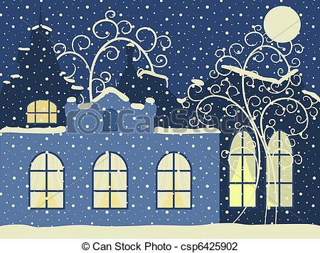 Vector Illustration of Retro winter city. Vector illustration.