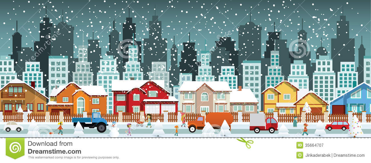 City In Winter (Christmas Scenery) Stock Photography.