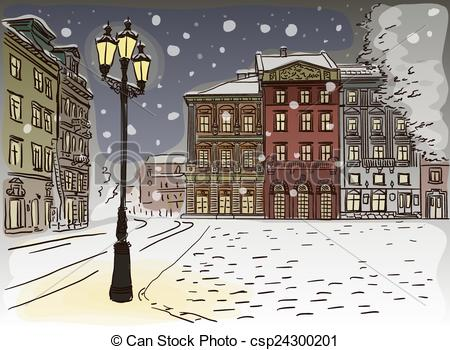 Winter City Street Free Clipart.