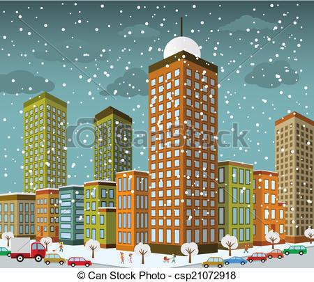 Vector Clip Art of City in perspective (winter).