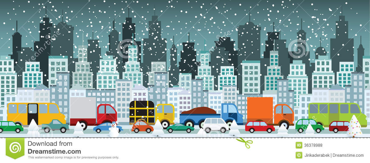 City Life (Winter) Stock Vector.