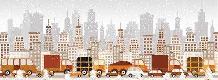 Winter city clipart.