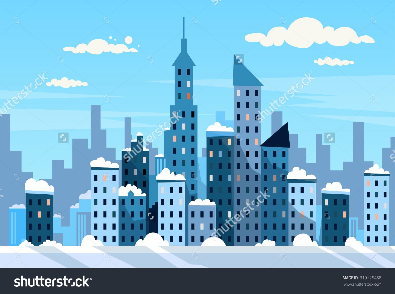 Winter City Skyscraper View Cityscape Snow Stock Vector 319125458.