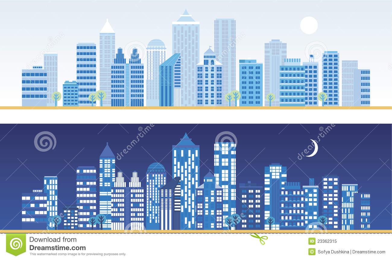 City Landscape Silhouettes Stock Illustrations.