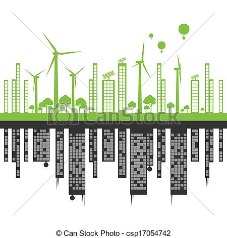 EPS Vector of Green ecology city landscape against pollution.