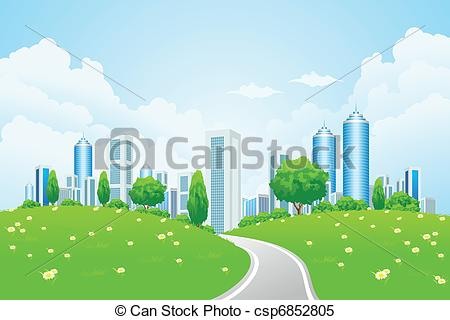Clipart Vector of City Landscape with Trees and Road.