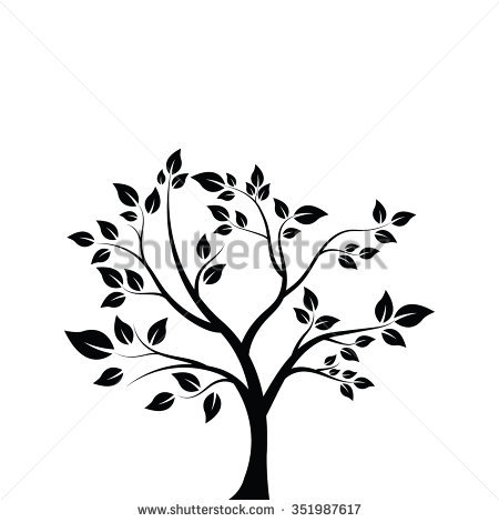 Vector Illustration Tree Silhouette Isolated On Stock Vector.