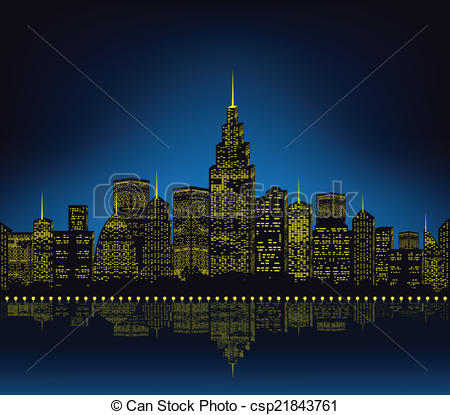 Clip Art Vector of City lights, cityscape csp21843761.