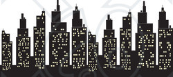 Clipart Illustration of a Silhouetted Skyscrapers Skyline With.