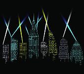 Clipart of City lights, cityscape k21843761.