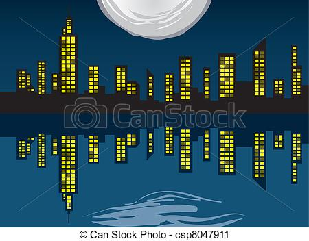 Vector Clip Art of City Skyline with Lights.