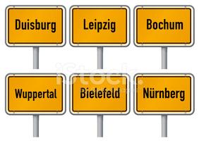 City Limits Signs of Major German Cities stock vectors.