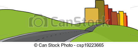 Clip Art Vector of Isolated City Limits.