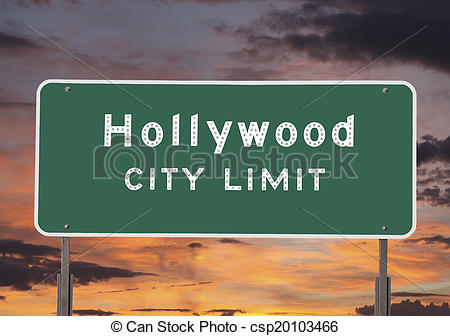 Stock Image of Hollywood City Limits Sign.