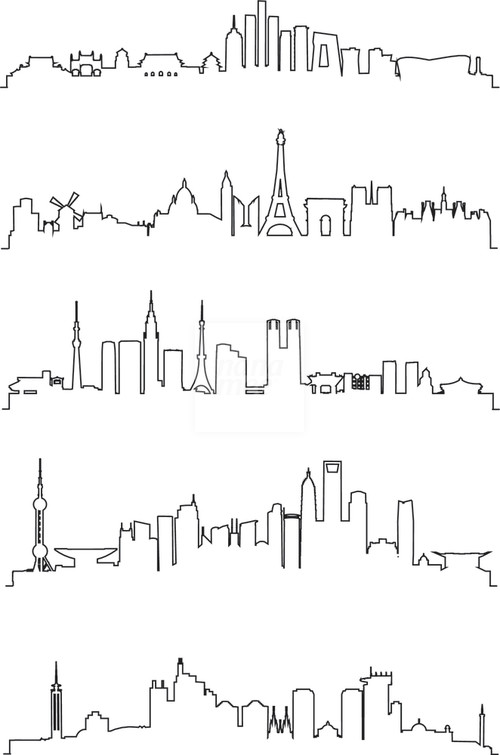 City Line Art Vector.