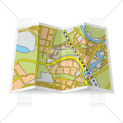 Abstract folded paper city map Vector Image.